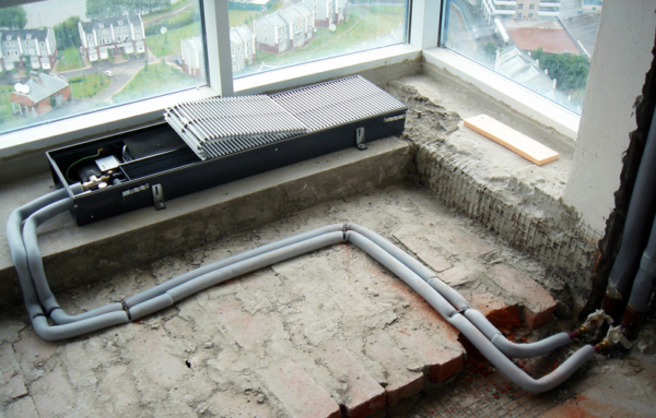 Монтаж радиатора отопления встроенного в пол