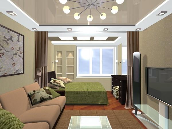 дизайн гостиной спальни 18 кв м варианты совмещения для небольшой
