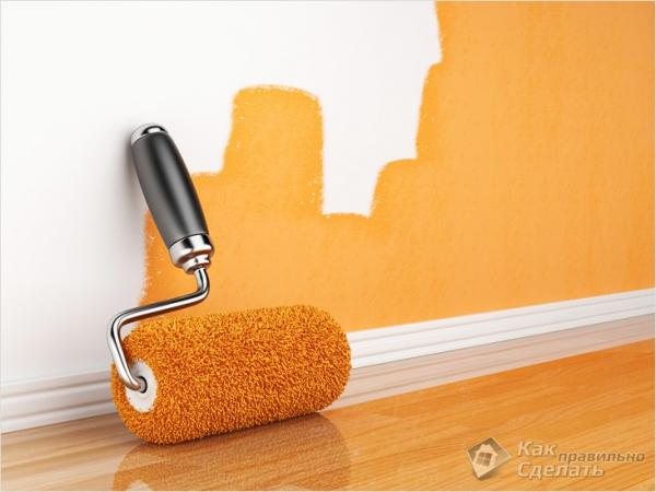 Как красить стены и потолок валиком +фото, видео